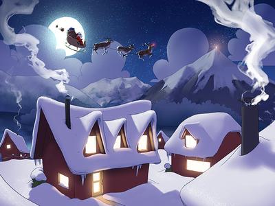 Christmas illustration chalet fondue digitalpainting painting switzerland thun winter wintertime snow christmas holiday