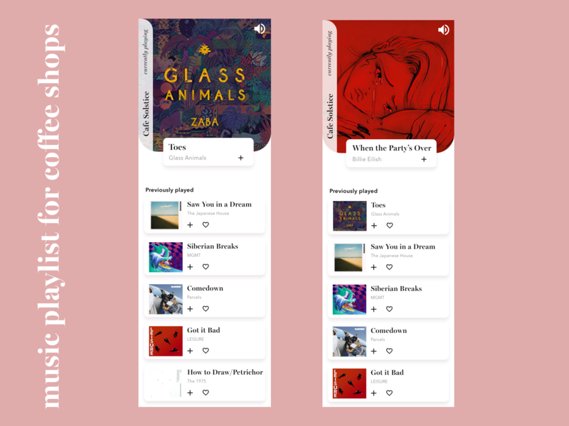 Music Playlist for Coffee Shops shop coffee songs playlist music adobexd iphonex app design ux ui