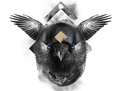 The Raven / The Wisdom animal spirit symbolism white black raven digital art print poster manipulation photo