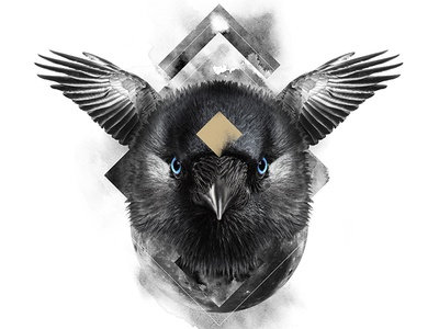 The Raven / The Wisdom animal spirit symbolism white black raven digital art print poster manipulation photo