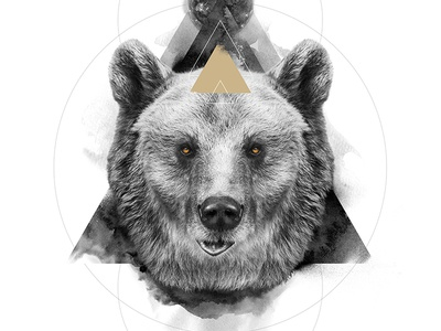 The Bear / The Masculine animal spirit symbolism white black bear digital art print poster manipulation photo