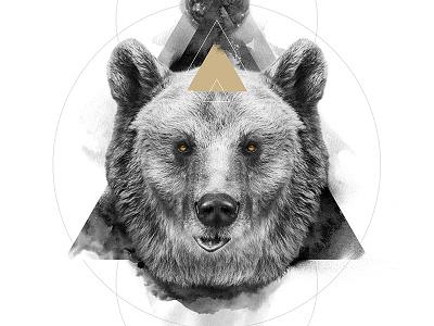 The Bear / The Masculine animal spirit symbolism white black bear digital art print poster manipulation photo