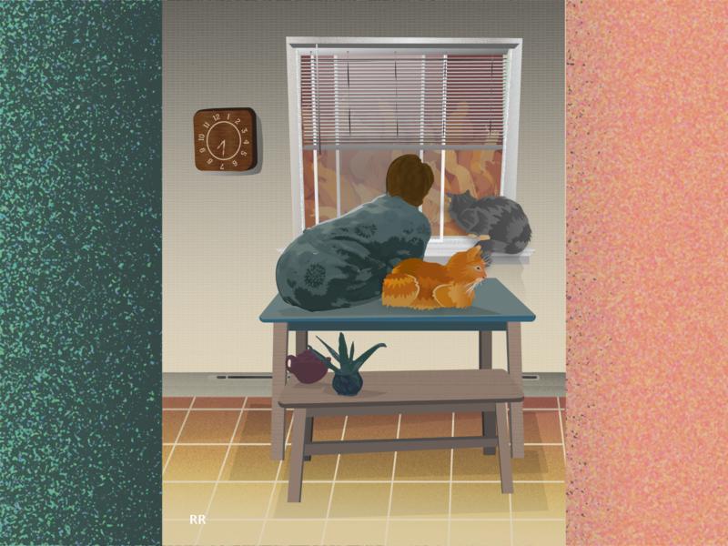 House Cats housecoat cats art vector illustration illustrator design