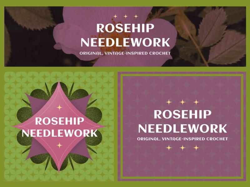 Rosehip Needlework Branding instagram banner etsy rosehip needlework logo lettering branding vector illustrator illustration design