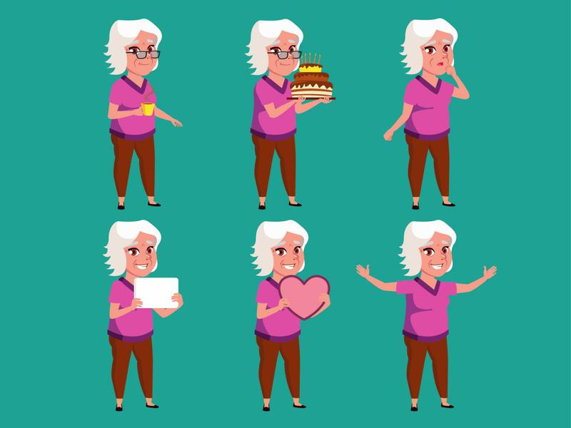 Auntie Tammy granny auntie aunt cute mascot flat illustrator character design vectorart character illustration cartoon vector