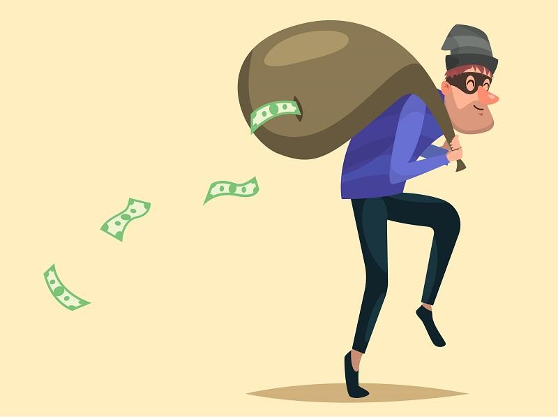 Cartoon character. Thief with a sack of money illustration vectorart crime thief design cartoon character vector