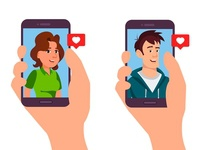 llustration of a mobile application for dating