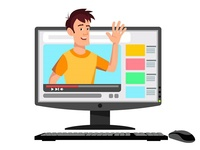 Cartoon Man Video Streamer Blogger On The Monitor