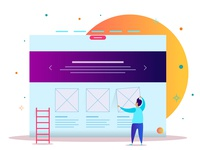 Modern Flat Webpage Design Template Of Ui  Ux Design With A Char