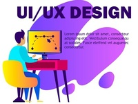 Modern flat web page design template of UI UX designer character