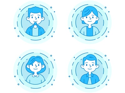 Cute people icon set in flat line style. Line avatars collection