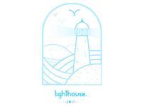Lighthouse blue line illustration frame simple illustration line lighthouse