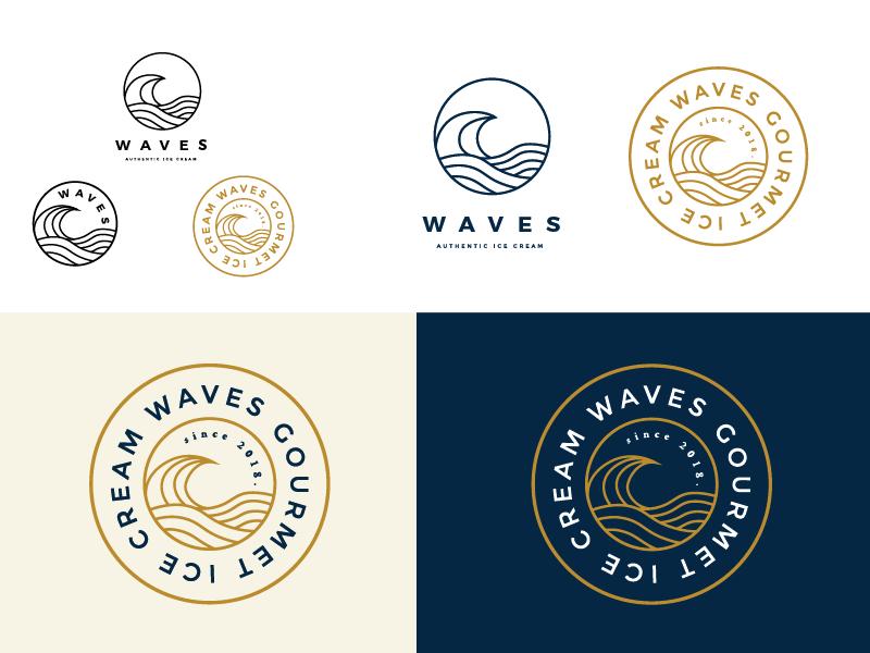 Waves Ice Cream Logo Concept brand identity stamp line illustration minimal identity design branding logo design line art simple