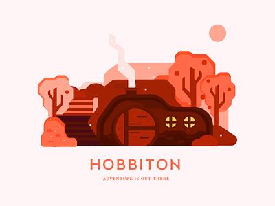 Hobbiton | Adventure is out there illustration design cityscape orange red monochrome geometric illustration geometric art geometric hobbiton shire lotr frame mockup vector art vector illustration illustration bilbo lord of the rings hobbit