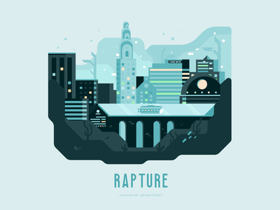 Rapture | Innovation Personified geometric design geometric illustration geometry vector illustration graphic design illustration design cityscape city illustration city scape rapture bioshock videogames illustration