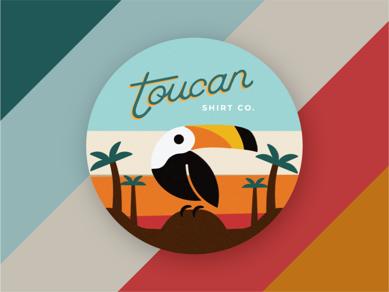 Toucan Profile Picture hawaiian tropical vintage retro vibrant colorful bright toucan bird beach typography vector brand identity illustration design geometric illustration branding simple logo design badge identity design