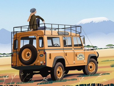Land Rover Defender Camel Trophy car characters magazine illustration landrover