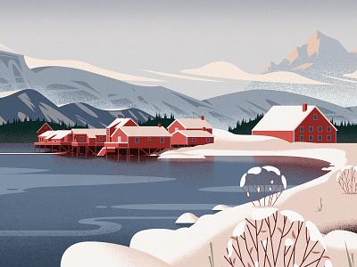 Range Rover Sport winter characters illustration magazine