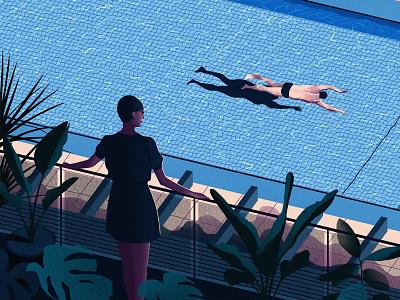 Pool sketch draw paint art swimmer pool