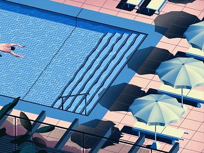 Pool swimmer sketch pool paint draw art
