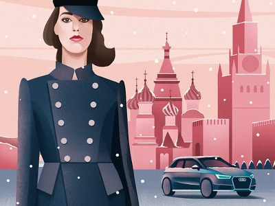Audi kremlin paint draw girl russia moscow car audi