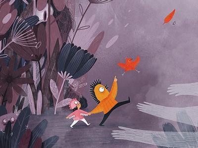 Journey character childrens book adventure bird illustraion journey