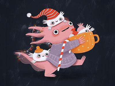 Axolotl illustration art illustraion axolotl character design character