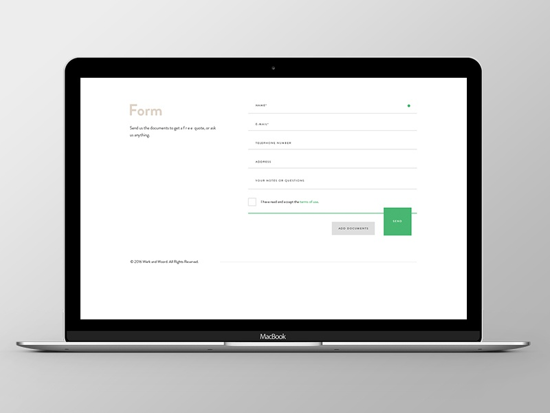 Werk and Woord Responsive Webiste square button form grid ui ux company agency responsive website web