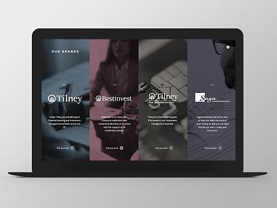 Tilney Bestinvest - Group Website Redesign brand burger ui ux responsive grid redesign finance button