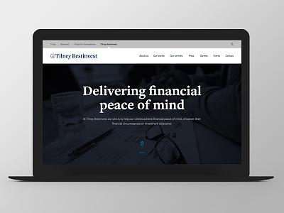Tilney Bestinvest - Group Website Redesign ui ux responsive grid redesign finance menu full-screen dark
