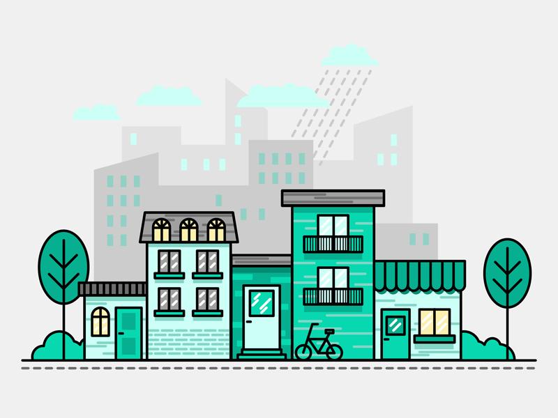 street rain bike street illustration town city