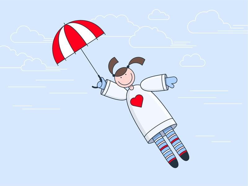Girl Flyes girl flyes dream girl illustration