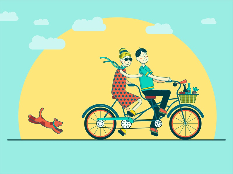 summer girl boy bike summer summer time illustration