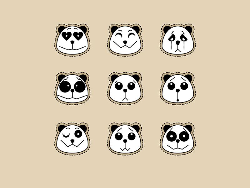 Panda illustrator emotions panda emoji