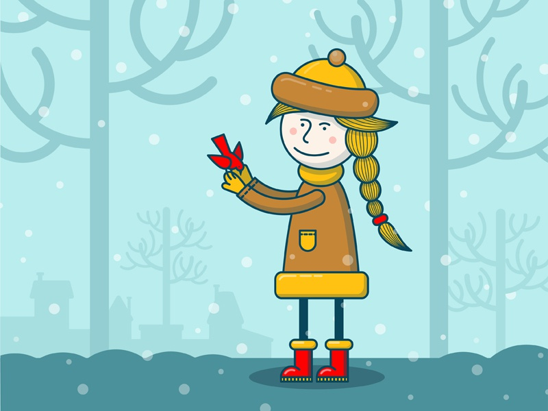 Girl With Bird illustration winter bird girl