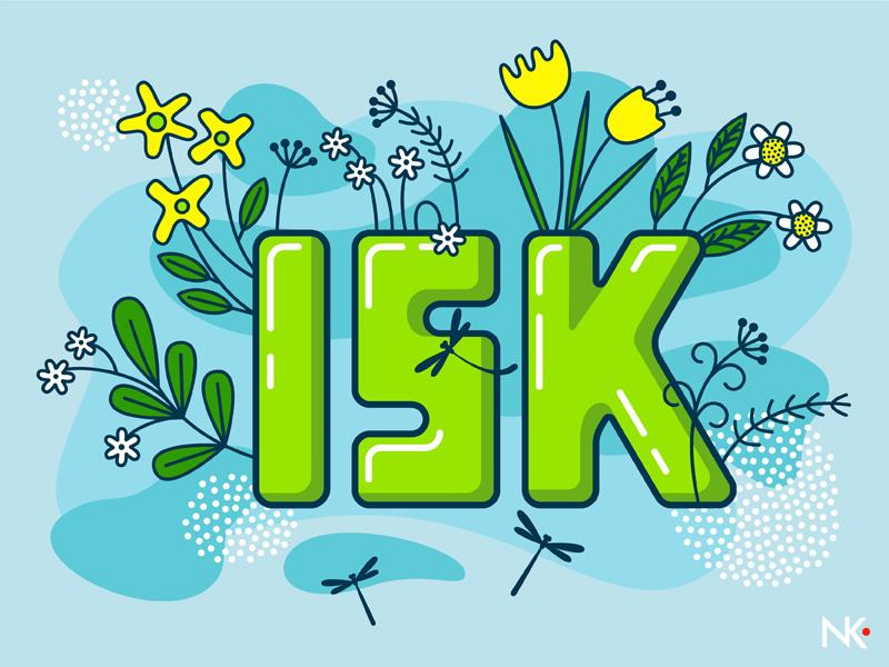 15K blue dreams of summer flowers summer flat design design flat illustration followers follow