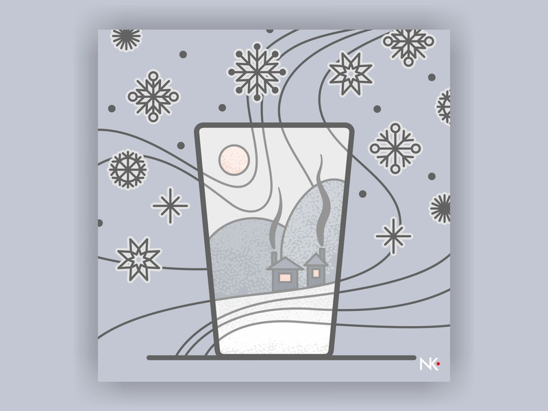 Winter In Russia illustration art illustration glass grey snowflakes snow winter