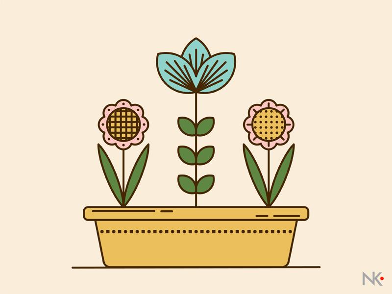 Flowers flat  design flat blue ai vector plants flowers illustrator design illustration