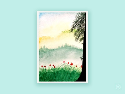 Watercolor scenery illustration