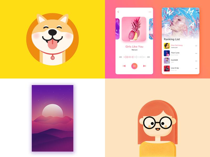 2018 scenery dog girl illustration music app
