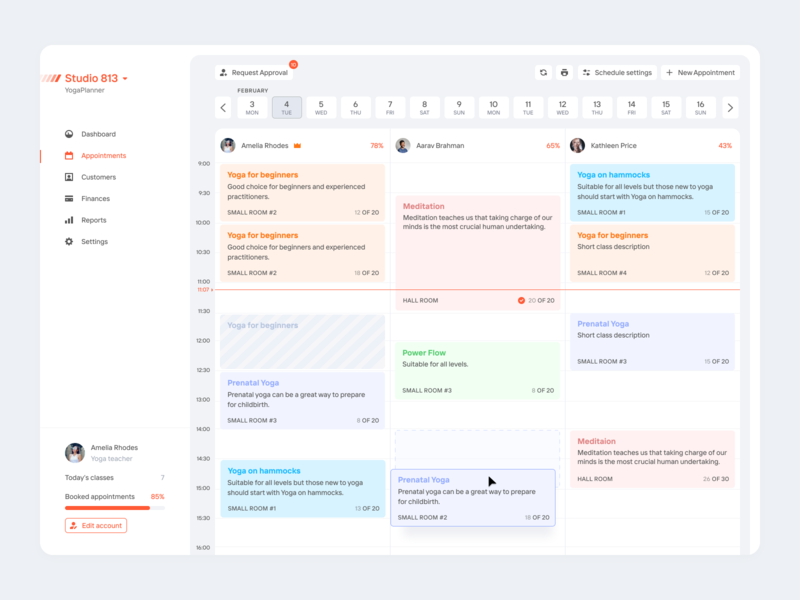Appointments for YogaPlanner saas uxdn ux ui erp crm dashboard design dashboard app ams b2b backoffice dashboard customers appointments appointment management