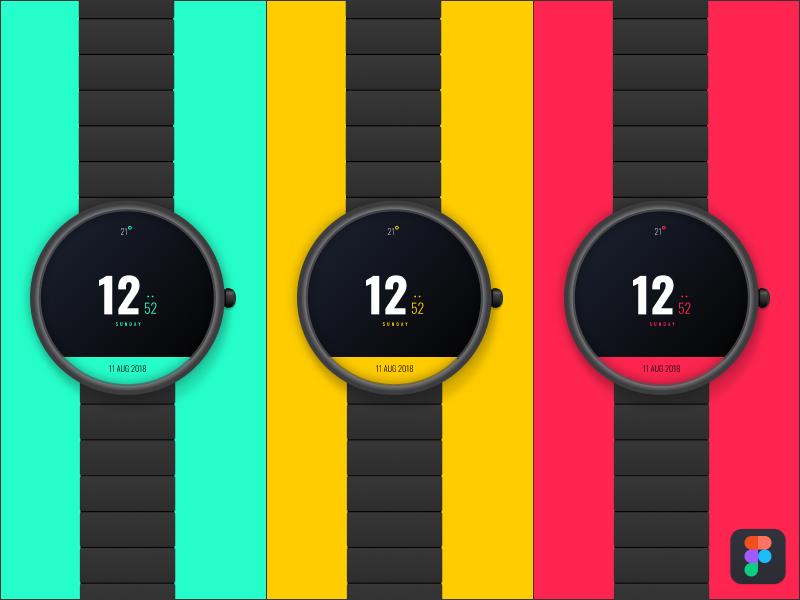 Digital Watch face digital figma time watch watch face apple watch moto 360 watch os