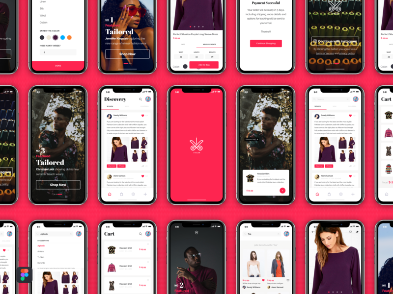 Tailor App e-commerce shop e-commerce app figmaafrica figma signup log in tailor app tailoring tailor pink app clothes shop clothes fashion app fashion