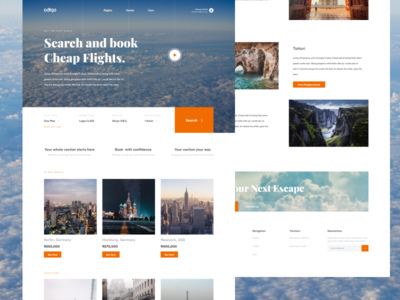 Odigo - Book flights homepage landing page search cheap sky orange luxury vacation air traveling booking airplane flights