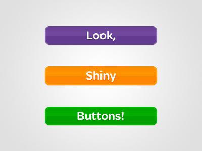Shiny Buttons shiny buttons purple orange green