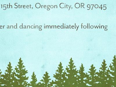Dancing Immediately Following wedding invite trees sky blue green oregon trail invitation stationary flat card a7