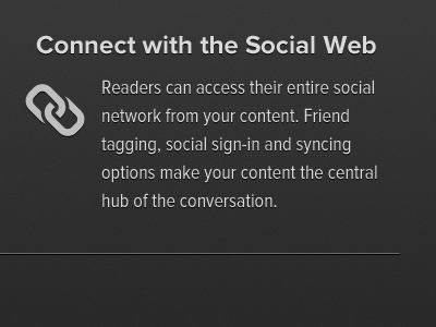Connect with the Social Web feature link icon grey proxima nova pictos