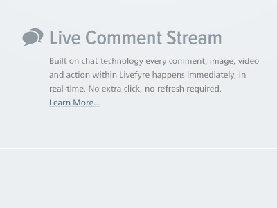Live Comment Stream blue grey pictors icon chat bubbles feature