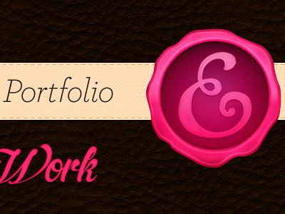 Portfolio Redesign pink cream brown leather stamp ribbon