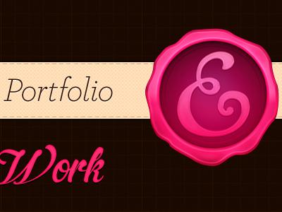 Portfolio Redesign 2 cream brown pink ribbon stamp grid grain